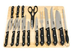 Masterchef 16 pc kitchen knife set wwood cutting board steak knives image is loading masterchef 16 pc kitchen knife set w wood teraionfo