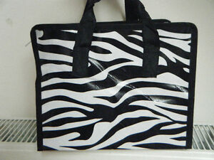SMALL-ECO-FRIENDLY-TRENDY-FOLD-AWAY-ANIMAL-ZEBRA-PRINT-LUNCH-SHOPPING-TRAVEL-BAG
