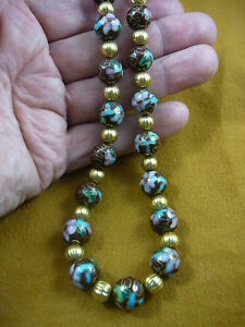 (v259-7) Chocolate brown Cloisonne traditional beaded bead Necklace JEWELRY