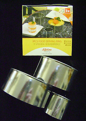 NEW BOXED SET 3 FOOD SERVING ROSTI RINGS ASSORTED SiZES 8.5 / 7.5 / 4cm diameter