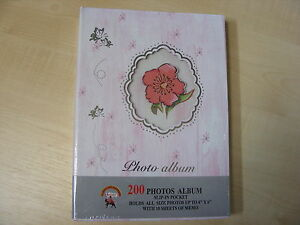 PINK-WHITE-FLORAL-PHOTO-ALBUM-200-PHOTOS-4x6-SLIP-IN-POCKETS-WITH-MEMO-SLIPS