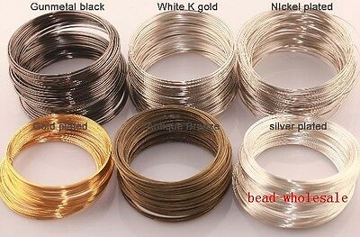 100/500Loops Round Memory Steel Wire For Charm Cuff Bangle Bracelet Size Choose