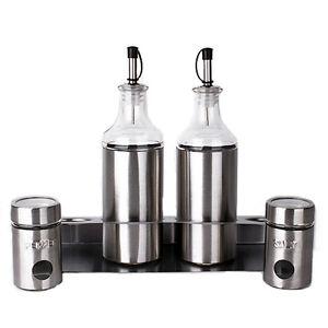 5-PCS-Glass-amp-Metal-Cruet-Set-amp-Spice-Jar-Stainless-Steel
