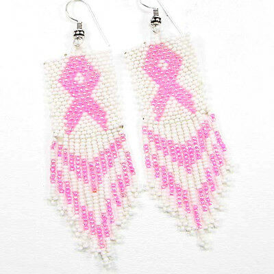 PINK RIBBON BREAST CANCER AWARENESS BEADED EARRINGS WHOLESALE BEAD JEWELRY