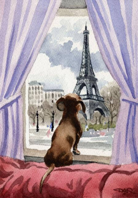 DACHSHUND IN PARIS Dog Watercolor 8 x 10 ART Print Signed DJR