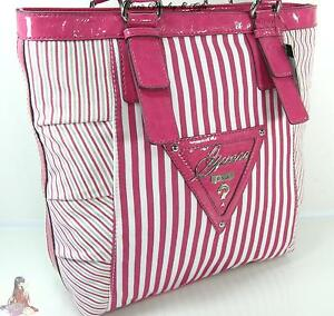 Guess-G-Logo-Purse-Tote-Large-Shoulder-Hand-Bag-Pink-White-Stripe-110-NWT