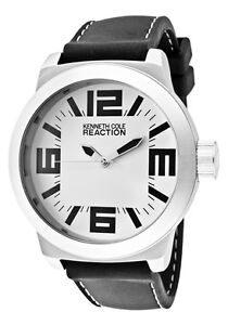 Kenneth-Cole-Reaction-Watch-RK1215-Men-039-s-White-Dial-Black-Polyurethane