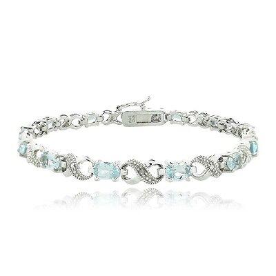 6.6ct TGW Blue Topaz & Diamond Accent Infinity Bracelet in Brass