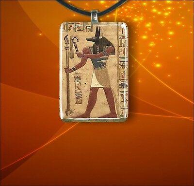 EGYPT ANUBIS GOD RECTANGULAR GLASS PENDANT M.