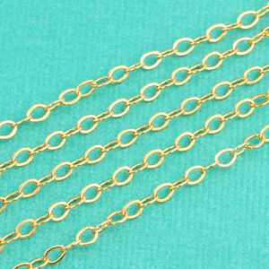 14K-Gold-Filled-Bulk-Flat-Cable-Chain-2-2mmx3-2mm-link-BY-THE-FOOT
