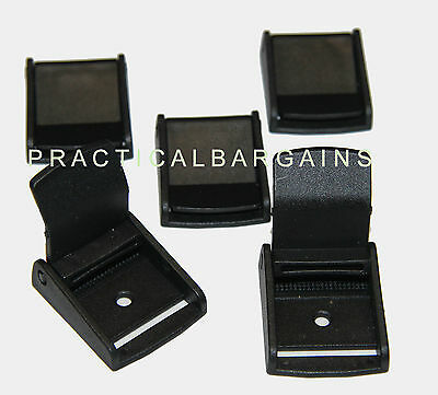 "5x Plastic Toggle Clip Cam Lock Buckles 1.25"" (32mm) 1 1/4"" New - Black"