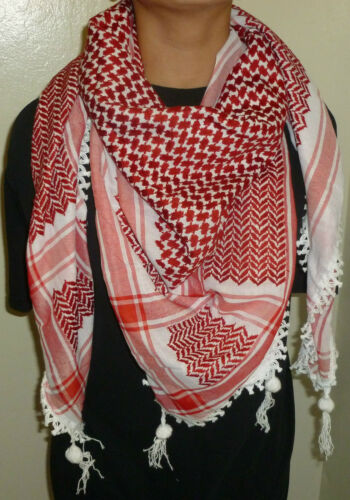 New RED Hatta Headscarf / Authentic Shemagh / Red & White Kuffiyeh