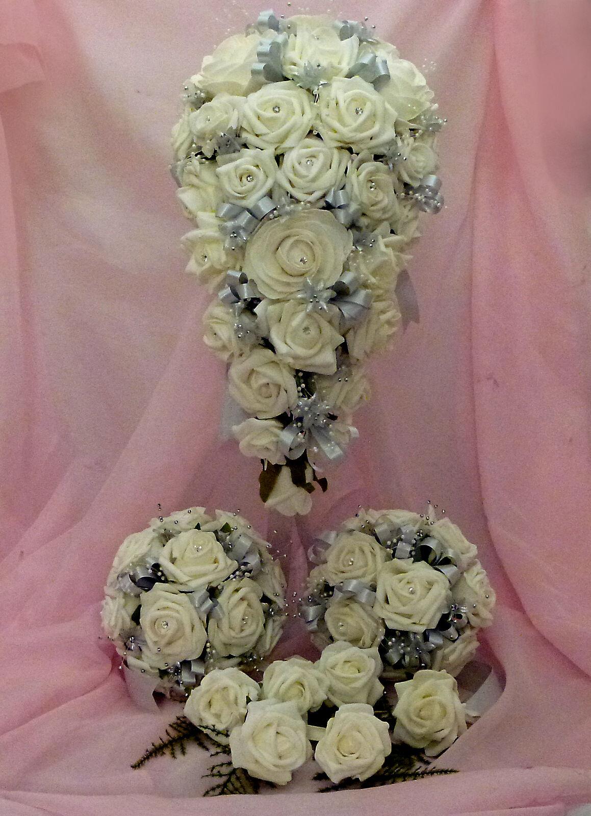 Mariage Fleurs = Complet Ensemble nuptiaux en Ivoire Argent Autres Couleurs Disponibles.