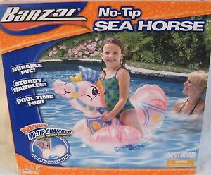 BANZAI-NO-TIP-SEA-HORSE-INFLATABLE-POOL-TOY-NO-TIP-CHAMBER-AGES-3-NEW