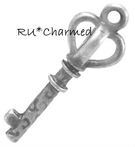 12pc-Vintage-Antique-Silver-3D-Double-sided-Key-Charms-Steampunk-Altered-Art