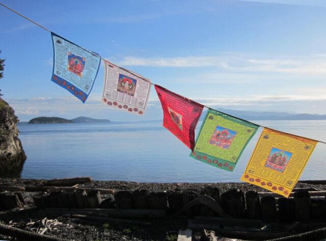 LONG LASTING  5 DEITYS W/ MANTRAS & 8 SYMBOLS XL TIBETAN BUDDHIST PRAYER FLAGS