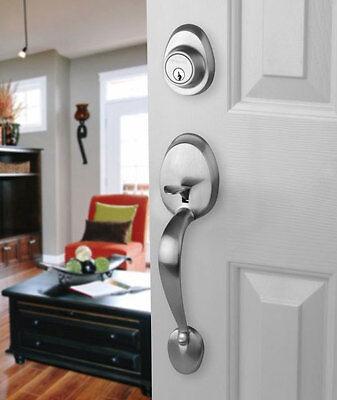 Front Door Entry Set Lock Satin Nickel With Egg Knob Interior