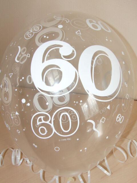 Clear Printed 60 ☆ DIAMOND WEDDING ANNIVERSARY BALLOONS ☆ Party Decorations x 10