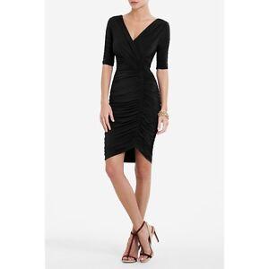 BCBG-MAXAZRIA-WOMEN-039-S-EVERT-V-NECK-RUCHED-DRESS