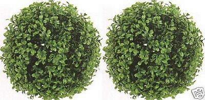 "2 ARTIFICIAL BOXWOOD BALLS OUTDOOR 10"" TOPIARY UV PLANT BUSH 7 AVAILABLE SIZES"
