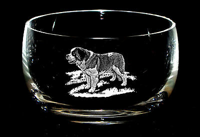 SAINT BERNARD *DOG GIFT* 12.5cm  Boxed CRYSTAL GLASS SWEET BOWL