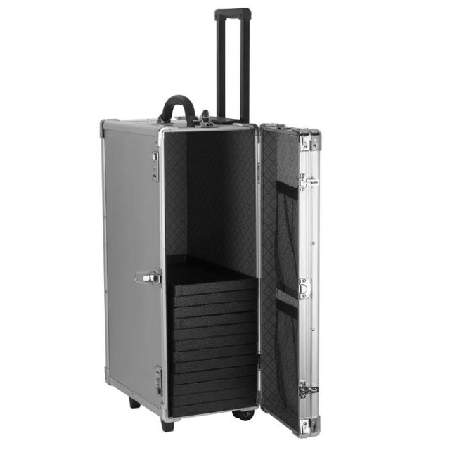 LARGE ALUMINUM JEWELRY CARRY CASE TRAVEL ROLLING CASE & JEWELRY TRAYS & LINERS