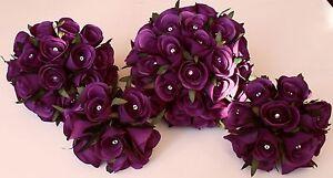 Bridesmaid-Brides-Flowergirl-Purple-Silk-Rose-Flower-Wedding-Diamante-Bouquet