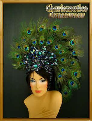 PEACOCK GREEN  FANCY Drag CARNIVAL Feather Headdress