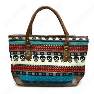 Womens-Color-Block-Shoulderbag-Purse-Punk-Skull-Tribal-Tote-Shopper-Shopping-Bag