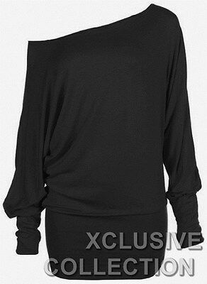 WOMENS PLUS SIZE OFF SHOULDER PLAIN BAGGY BATWING SLEEVE SLOUCH DRESS TOP 8-20