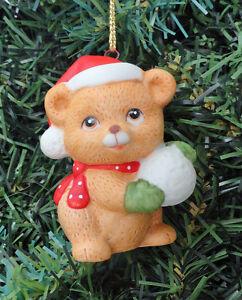 f53be066c8 Image is loading Ceramic-Bear-Teddy-Bear-Holding-Snowball-Holiday-Christmas-
