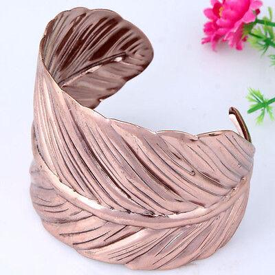 Copper Winding Vivid Leaf of Japanese Banana Cuff Bracelet Bangle Prom