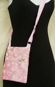 Hearts-Print-Messenger-Shoulder-HandBags-Crossbody-Women-039-s-Bag-Pink-6-034-x7-034