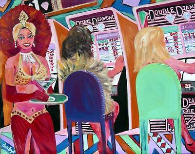 Slots LAS VEGAS Strip Original Casino Art DAN BYL Investment Collector Canvas