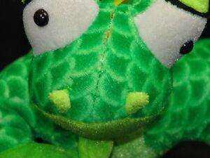 BIG BUG EYED IGUANA LIZARD BJ TOYS PLUSH STUFFED ANIMAL GREEN GECKO DRAGON