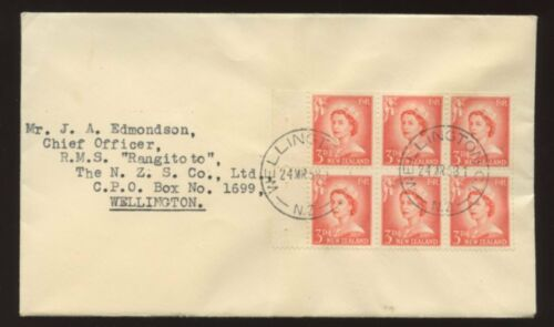 NEW ZEALAND 1958 QE2 BOOKLET PANE of 6 on COVER to RMS RANGITOTO
