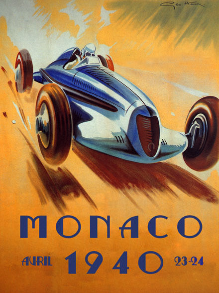 MONACO Grand Prix Auto Race 1940 Large Vintage Advertising Poster Repo FREE S/H