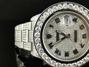 35 ct new mens fully iced out genuine diamond rolex date just 2 ii image is loading 35 ct new mens fully iced out genuine
