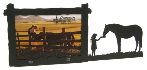 """Horse Picture Frame 3.5""""x5"""" - 3""""x5"""" H - Lunch with a Friend Feeding"""