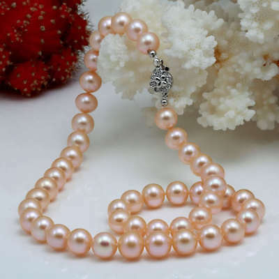 """8-9mm Pink Akoya Cultured Pearl Round Beads Necklace 18"""""""