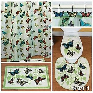 colorful butterflies decor complete bathroom rug and shower curtain set new ebay. Black Bedroom Furniture Sets. Home Design Ideas