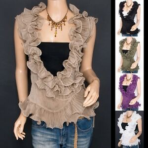 Trendy-Chiffon-Tiered-Ruffles-Crinkles-Wrap-Sleeveless-Shirt-Top