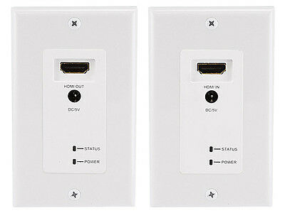 HDMI Extender Wall Plate w/ LED over RJ45 CAT5E/CAT6 White Balun Extender (New)