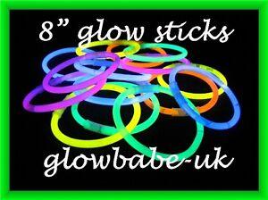 500-x-8-GLOW-STICKS-LIGHTSTICKS-BRACELETS-PARTY-UV-GLOWSTICKS-GLO-STICKS-RAVE