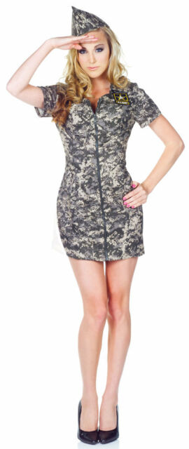 SEXY ADULT WOMENS US ARMY CAMO CAMOUFLAGE COSTUME MILITARY MARINES UNIFORM DRESS