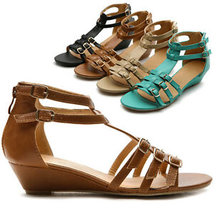 NEW Womens Buckles Accent Gladiator Strappy Low Heels Wedge Sandal ...