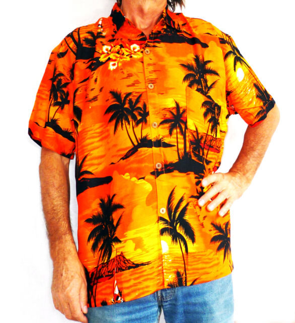 LOUD HAWAIIAN MENS SHIRT WITH PALM TREES, SUNSETS HIBISCUS, STAG Night PARTY,new