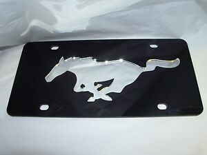 Ford-Mustang-License-Plate-Black-Silver-Brand-NEW