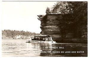 RPPC-Wisconsin-Dells-DUCK-TOUR-At-Hawk-039-s-Bill-1950-039-s-Real-Photo-Postcard-RP-PC