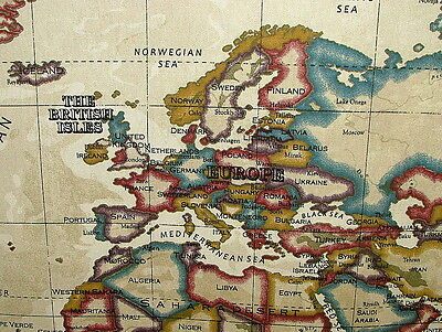 Prestigious Atlas World Map Antique Designer Cotton Curtain Upholstery Fabric
